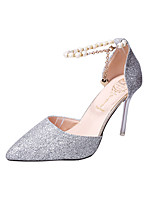 cheap -Women's Sandals Stiletto Heel Pointed Toe Casual Daily Walking Shoes PU Imitation Pearl Sequin Solid Colored Red Gold Silver