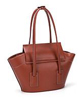 cheap -Women's Bags PU Leather Top Handle Bag Zipper Plain 2021 Daily Date Red Brown Black