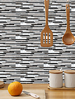 cheap -imitation retro ceramic tile kitchen sticker waterproof and oilproof black and white striped flake self-adhesive decorative wall sticker 15cm*30cm*6pcs