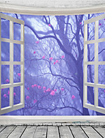 cheap -Window Landscape Wall Tapestry Art Decor Blanket Curtain Hanging Home Bedroom Living Room Decoration Tree Flower Blossom