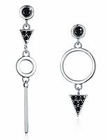 cheap -Silver Geometric Halo Dangle Earrings, Silver Drop Earrings for Women 5A Black Cubic Zirconia Asymmetrical Triangle Ladies Earrings Cross Earrings Valentine's Day Birthday Gift