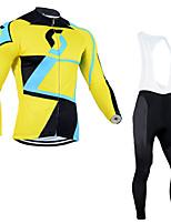 cheap -Men's Long Sleeve Cycling Jersey with Bib Tights Winter Elastane Black / Yellow Bike Sports Clothing Apparel