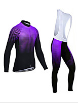 cheap -Men's Long Sleeve Cycling Jersey with Bib Tights Winter Elastane Purple Red Grey Bike Sports Clothing Apparel