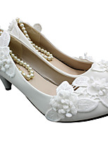 cheap -Women's Wedding Shoes Chunky Heel Round Toe Wedding Walking Shoes PU Pearl Floral White