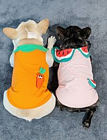 cheap -Dog Cat Shirt / T-Shirt Watermelon Fruit Sweet Style Adorable Casual / Daily Dog Clothes Puppy Clothes Dog Outfits Breathable White Yellow Green Costume for Girl and Boy Dog Cotton S M L XL XXL