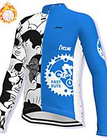 cheap -21Grams Men's Long Sleeve Cycling Jacket Winter Fleece Spandex Blue Gear Bike Jacket Mountain Bike MTB Road Bike Cycling Fleece Lining Warm Sports Clothing Apparel / Stretchy / Athleisure