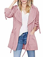 cheap -Women's Jacket Solid Color Drawstring Sporty Fall Notch lapel collar Coat Long Causal Long Sleeve Polyester Coat Tops Pink