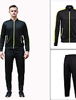 cheap -Men's Tennis Badminton Table Tennis Jacket Pants / Trousers Clothing Suit Long Sleeve Breathable Quick Dry Moisture Wicking Sports Outdoor Autumn / Fall Spring Winter Stripes Black / High Elasticity