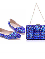 cheap -Women's Wedding Shoes Flat Heel Pointed Toe Vintage Sexy Minimalism Wedding Party & Evening PU Rhinestone Crystal Sparkling Glitter Solid Colored Blue