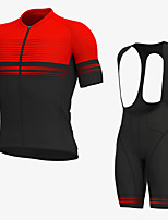 cheap -Men's Short Sleeve Cycling Jersey with Bib Shorts Elastane Black / Red Bike Sports Clothing Apparel
