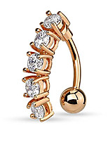 cheap -rose gold plated surgical steel sexy dangle reverse mount 5-cz vertical drop belly button ring