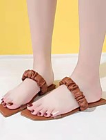 cheap -Women's Sandals Flat Heel Square Toe British Daily PU Solid Colored Almond Brown