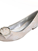 cheap -Women's Wedding Shoes Flat Heel Round Toe Classic Sweet Wedding Party & Evening Lace Rhinestone Buckle Solid Colored White Champagne Ivory