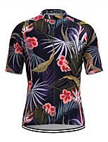 cheap -Men's Short Sleeve Cycling Jersey Dark Navy Floral Botanical Bike Top Mountain Bike MTB Road Bike Cycling Breathable Sports Clothing Apparel / Stretchy / Athletic