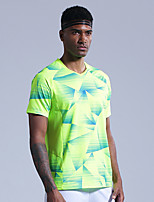 cheap -Men's Tennis Badminton Table Tennis Tee Tshirt Short Sleeve Breathable Quick Dry Moisture Wicking Sports Outdoor Autumn / Fall Spring Summer Color Gradient Red Green / High Elasticity