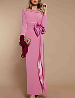 cheap -Sheath / Column Minimalist Elegant Wedding Guest Formal Evening Dress Boat Neck Long Sleeve Floor Length Stretch Fabric with Bow(s) 2020