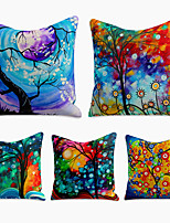 cheap -Cushion Cover 5PC Linen Soft Decorative Square Throw Pillow Cover Cushion Case Pillowcase for Sofa Bedroom 45 x 45 cm (18 x 18 Inch) Superior Quality Machine Washable Tree Abstract