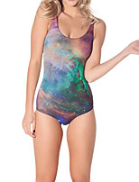cheap -Women's New Colorful Lady Monokini Swimsuit Abstract Tie Dye Tummy Control Open Back Slim Bodysuit Normal Strap Swimwear Bathing Suits Rainbow / One Piece / Party / Print