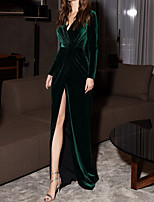 cheap -Sheath / Column Minimalist Vintage Wedding Guest Formal Evening Dress V Neck Long Sleeve Floor Length Velvet with Draping Split 2020