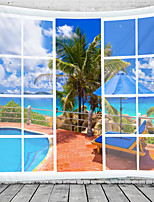 cheap -Window Landscape Wall Tapestry Art Decor Blanket Curtain Hanging Home Bedroom Living Room Decoration Window Sea Ocean Beach Swimming Pool Coconut Tree