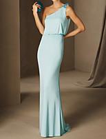 cheap -Sheath / Column Elegant Floral Engagement Formal Evening Dress One Shoulder Sleeveless Sweep / Brush Train Chiffon with Appliques 2021