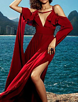 cheap -Sheath / Column Celebrity Style Maxi Holiday Formal Evening Dress V Neck Half Sleeve Floor Length Spandex with Ruffles Split 2021
