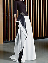 cheap -A-Line Color Block Beautiful Back Engagement Formal Evening Dress Jewel Neck 3/4 Length Sleeve Sweep / Brush Train Chiffon with Crystals Ruffles 2021