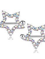 cheap -rhinestone paved star nipple piercing rings barbells 14gauge (ab colorful)
