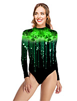 cheap -Women's New Vacation Sexy One Piece Swimsuit Leaf Tummy Control Print Bodysuit Normal High Neck Swimwear Bathing Suits Green / Party