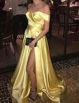 cheap -A-Line Minimalist Sexy Wedding Guest Formal Evening Dress V Neck Sleeveless Sweep / Brush Train Satin with Split 2021