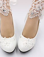 cheap -Women's Wedding Shoes Pumps Round Toe Casual Daily Walking Shoes Faux Leather Rhinestone Flower Solid Colored White
