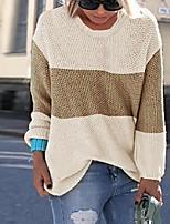 cheap -Women's Stripes Sweater Long Sleeve Sweater Cardigans U Neck Light Blue powder White