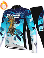 cheap -21Grams Men's Long Sleeve Cycling Jacket with Pants Winter Fleece Spandex Blue Dinosaur Bike Fleece Lining Warm Sports Graphic Mountain Bike MTB Road Bike Cycling Clothing Apparel / Stretchy