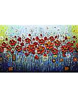cheap -Handmade Hand Painted Horizontal Abstract Floral / Botanical Contemporary Modern Rolled Canvas (No Frame)
