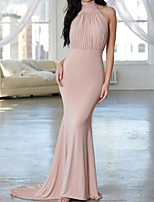 cheap -Mermaid / Trumpet Beautiful Back Sexy Engagement Formal Evening Dress Halter Neck Sleeveless Sweep / Brush Train Spandex with Pleats 2021