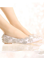 cheap -Women's Wedding Shoes Flat Heel Pointed Toe Vintage Sexy Minimalism Wedding Party & Evening PU Rhinestone Crystal Sparkling Glitter Solid Colored Silver