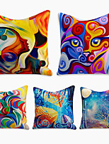 cheap -Cushion Cover 5PC Linen Soft Decorative Square Throw Pillow Cover Cushion Case Pillowcase for Sofa Bedroom 45 x 45 cm (18 x 18 Inch) Superior Quality Machine Washable Abstract Fantasy