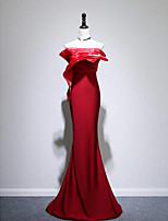 cheap -Mermaid / Trumpet Minimalist Sexy Wedding Guest Formal Evening Dress Strapless Sleeveless Sweep / Brush Train Taffeta with Sleek Sash / Ribbon 2021