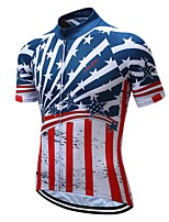 cheap -Men's Short Sleeve Cycling Jersey Blue National Flag Bike Top Mountain Bike MTB Road Bike Cycling Breathable Sports Clothing Apparel / Stretchy / Athletic