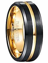 cheap -gold center groove tungsten carbide ring for men/women wedding band beveled edges black matte finish size o