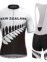 cheap -21Grams Men's Short Sleeve Cycling Jersey with Bib Shorts Black / White Bike Breathable Sports Graphic Mountain Bike MTB Road Bike Cycling Clothing Apparel / Stretchy / Athleisure