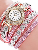 cheap -Women Ladies Multilayer Bracelet Rhinestone Quartz Leather Wrist Watch(Pink)