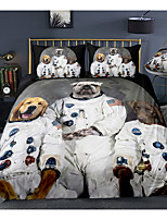 cheap -Space Dog Print 3-Piece Duvet Cover Set Hotel Bedding Sets Comforter Cover with Soft Lightweight Microfiber, Include 1 Duvet Cover, 2 Pillowcases for Double/Queen/King(1 Pillowcase for Twin/Single)