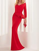 cheap -Mermaid / Trumpet Peplum Elegant Wedding Guest Formal Evening Dress V Neck Long Sleeve Sweep / Brush Train Stretch Satin with Ruched Ruffles 2021