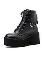 cheap -Women's Boots Wedge Heel Round Toe Booties Ankle Boots Classic Daily PU Solid Colored Black / Booties / Ankle Boots