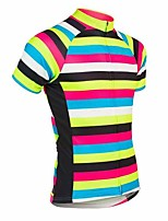 cheap -21Grams Men's Short Sleeve Cycling Jersey Yellow Stripes Bike Top Mountain Bike MTB Road Bike Cycling Breathable Sports Clothing Apparel / Stretchy / Athletic