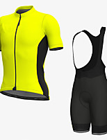 cheap -Men's Short Sleeve Cycling Jersey with Bib Shorts Elastane Black / Yellow Bike Sports Clothing Apparel