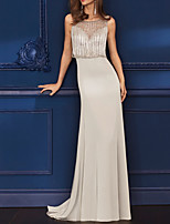cheap -Sheath / Column Glittering Sexy Engagement Formal Evening Dress Illusion Neck Sleeveless Sweep / Brush Train Italy Satin with Tassel 2021