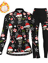 cheap -21Grams Women's Long Sleeve Cycling Jersey with Tights Winter Fleece Polyester Black Purple Red Skull Christmas Santa Claus Bike Clothing Suit Thermal Warm Fleece Lining Breathable 3D Pad Warm Sports