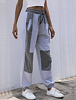 cheap -Women's Stylish Casual / Sporty Breathable Comfort Sports Going out Sweatpants Pants Patchwork Full Length Drawstring Patchwork Gray